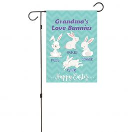 Personalized Love Bunnies Garden Flag - 4 Names