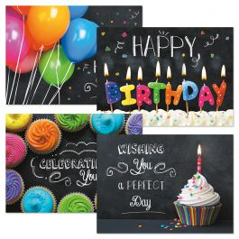 Bright on Black Birthday Cards