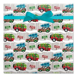 Christmas Camping Jumbo Rolled Gift Wrap