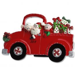 Red Truck And Santa Tabletop Easel Personalized Christmas