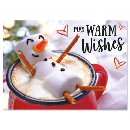 Marshmallow Snowman Christmas Cards - Personalized