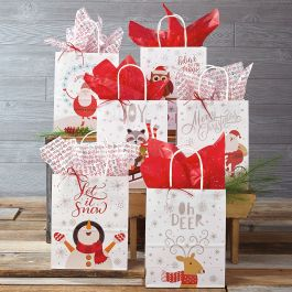 Kraft Christmas Gift Bags Set Of 6 Current Catalog