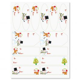 Swirly Snowman Labels