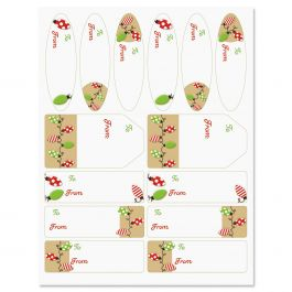 Kraft Holiday Lights Gift Wrap To/From Labels