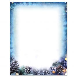 christmas letter borders snowy pine letter papers current catalog 10496 | 616586