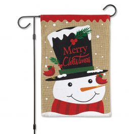 Top Hat Snowman Christmas Garden Flag