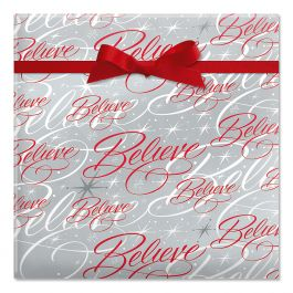 Believe Silver Jumbo Rolled Gift Wrap