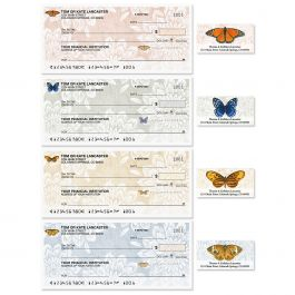 Natural Butterfly Single Checks With Matching Address Labels