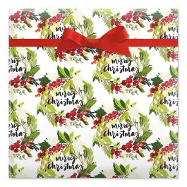 Merry Christmas Wreaths Jumbo Rolled Gift Wrap