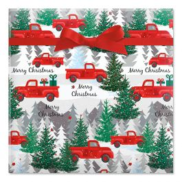 Red Truck Jumbo Rolled Gift Wrap
