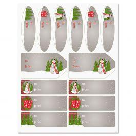 Wood Paneled Snowman Labels