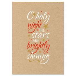Kraft Holy Night Christmas Cards - Personalized