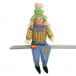 Boy Sitting Scarecrow