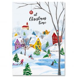Snowy Village Christmas Cards - Personalized