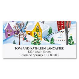 Snowy Village Deluxe Address Labels