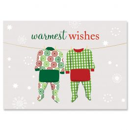 Pajama Family of Two Christmas Cards
