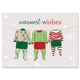 Pajama Family of Three Christmas Cards