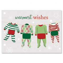 Pajama Family of Four Christmas Cards