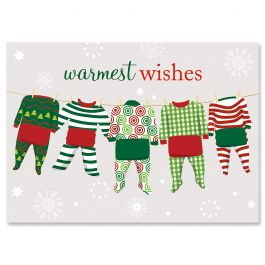 Pajama Family of Five Christmas Cards