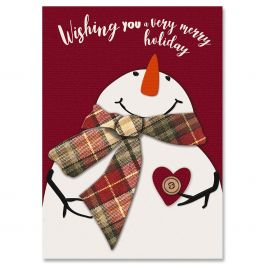 Snowman Heart Christmas Cards - Personalized