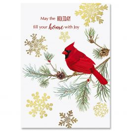 Cardinal In Snow Christmas Cards - Personalized