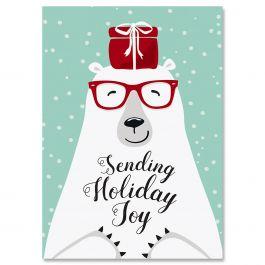 Polar bear Joy Christmas Cards - Personalized