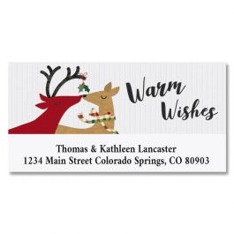 Kissing Deer Deluxe Address Labels