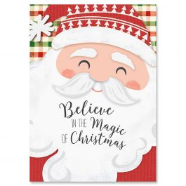 Santa on Plaid Christmas Cards - Non-personalized