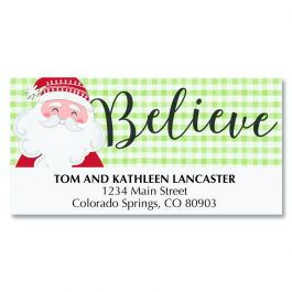 Santa on Plaid Deluxe Address Labels