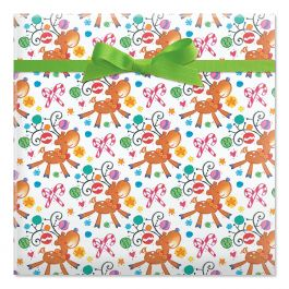 On Prancer Jumbo Rolled Gift Wrap