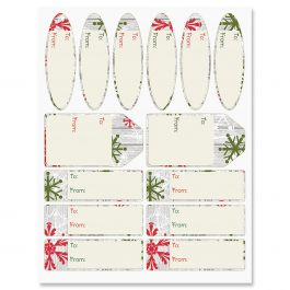 Wood Wash Flakes Gift Wrap To/From Labels