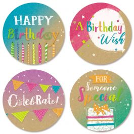 Kraft Birthday Seals (4 Designs)