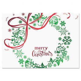 Christmas Wreath Deluxe Christmas Cards - Personalized