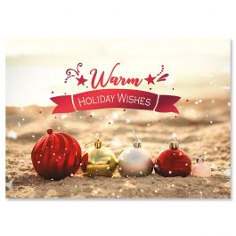 Coastal Ornaments Christmas Cards - Personalized
