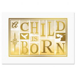 A Child Is Born Christmas Cards - Personalized