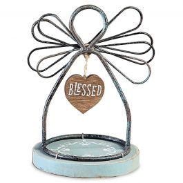 Blessed Wire Angel on Wood Base
