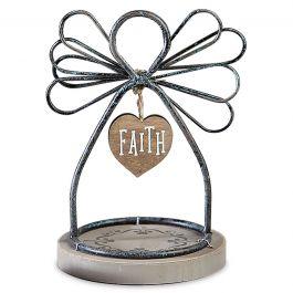Faith Wire Angel on Wood Base