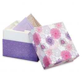 Lavender Blooms Greeting Card Organizer Box