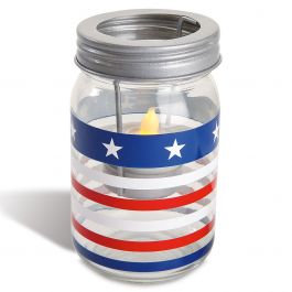 Stars & Stripes Patriotic Jar Candle Holder