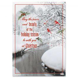 Cardinal Stream Christmas Cards - Nonpersonalized