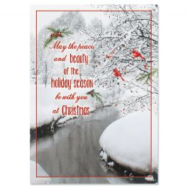 Cardinal Stream Christmas Cards - Personalized