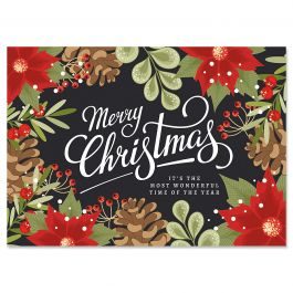 Poinsettia Border Christmas Cards - Personalized