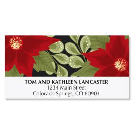Poinsettia Border Deluxe Address Labels