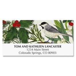 Pine & Chickadee Border Deluxe Address Labels
