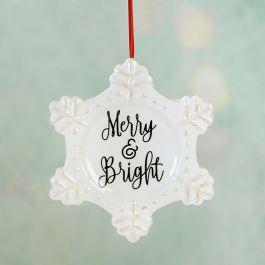 Merry & Bright Ceramic Snowflake Ornament