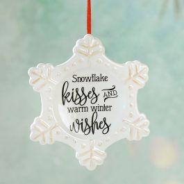 Kisses & Wishes Ceramic Snowflake Ornament