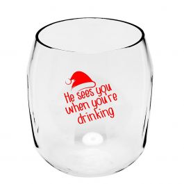 He Sees You Unbreakable Wine Glass