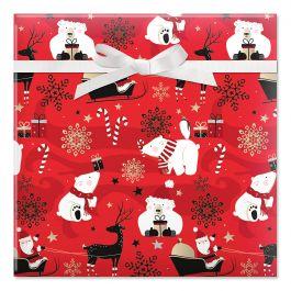 Holiday Cheer Jumbo Rolled Gift Wrap
