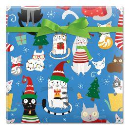 Christmas Cats Jumbo Rolled Gift Wrap