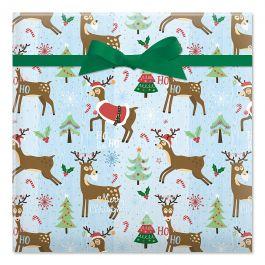 Playful Reindeer Jumbo Rolled Gift Wrap
